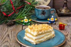 Торт Наполеона на рождество и Новый Год Стоковые Фото