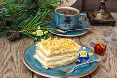 Торт Наполеона на рождество и Новый Год Стоковые Изображения RF