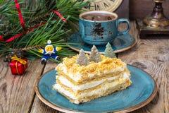 Торт Наполеона на рождество и Новый Год Стоковое фото RF