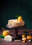 Торт Наполеона с вареньем tangerine стоковые фотографии rf