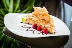 Торт Наполеона с сливк Стоковое Фото