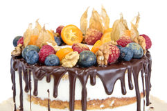Торт дня рождения нагой украшенный с плодоовощами Стоковые Изображения RF