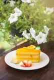 Торт оранжевого торта очень вкусный сладостный с украшениями цветет backgro Стоковое Изображение