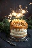 Торт партии карамельки с попкорном Стоковые Фотографии RF