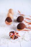 Торт пасхального яйца Chocolte испек в раковине связанной с лентой Стоковое Изображение