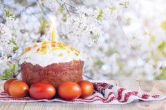 Торт пасхи и покрашенные яичка на предпосылке Стоковая Фотография RF