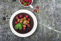 Торт пирожного гайки шоколада украшенный с поленикой Стоковое Изображение