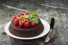 Торт пирожного гайки шоколада украшенный с поленикой Стоковая Фотография