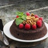 Торт пирожного гайки шоколада украшенный с поленикой Стоковые Изображения