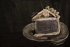 Торт покрашенный мелом на черной доске Стоковые Изображения
