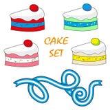 Торт помадок элементов еды установленного дизайна вектора иллюстрация вектора