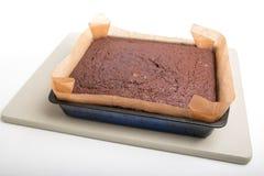 Торт пряника в олове на бледной ой-зелен испеченной доске Стоковое Изображение