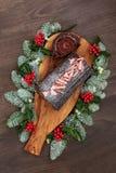 Торт рождества журнала шоколада Стоковые Фото