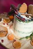 Торт рождества с пряником и ягодами Стоковое фото RF