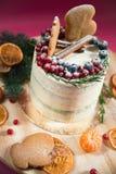 Торт рождества с пряником и ягодами Стоковое Изображение RF