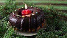 Торт рождества с свечой видеоматериал