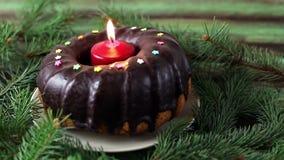 Торт рождества с свечой акции видеоматериалы