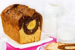 Торт с бананом и какао Стоковые Фотографии RF