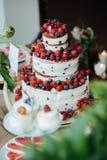 Торт с клубникой и голубиками Стоковая Фотография