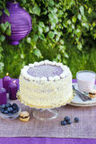 Торт слоя голубики и кокоса Стоковое фото RF