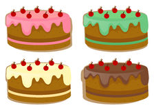 Торт с 4 различными отбензиниваниями бесплатная иллюстрация