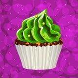 Торт с сливк на красочной предпосылке вектор Стоковые Изображения
