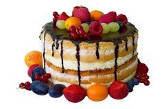 Торт с chokolate и плодоовощами Стоковая Фотография