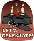 Торт торжества сделанный от фетиша забавляется для взрослых; на темноте - красной предпосылке иллюстрация вектора