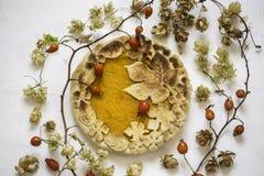 Торт тыквы украшенный при диаграммы сделанные из теста для того чтобы упасть стиль Стоковая Фотография