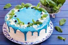 Торт украшенный с голубыми сливк, мятой и голубиками Стоковые Фотографии RF