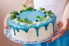 Торт украшенный с голубыми сливк, мятой и голубиками Стоковое фото RF