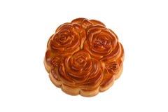 Торт луны Isilated с цветками Стоковое Изображение
