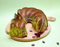 Торт фисташки шоколада мраморный Стоковое фото RF