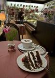 Торт черного леса в кафе Стоковое фото RF