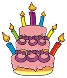 Торт 3 этажей с свечами Стоковые Фото