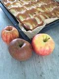 торт яблока покрыл ломтики студня Стоковое Изображение