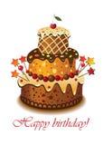 торт birthday02 Иллюстрация вектора