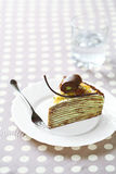 Торт Crepe фисташки шоколада Стоковое Изображение