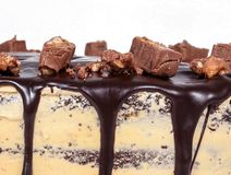 Торт Fudge шоколада, покрытая конфета closeup Стоковое Изображение RF