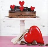 Торт gateaux слоя мусса шоколада валентинки Стоковая Фотография RF