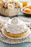 Торт Pavlova заполненный с вареньем персика, Стоковое Фото