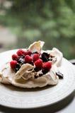 Торт Pavlova с ягодами Стоковые Фотографии RF
