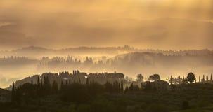 Тосканский ландшафт в раннем утре Стоковые Изображения RF