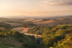 Тосканский ландшафт в теплом спокойном дне, Италии Стоковые Изображения RF