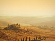 Тосканский восход солнца виллы Стоковое Фото