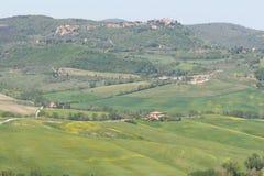 Тосканский ландшафт, долина около Pienza, Италии стоковое фото rf
