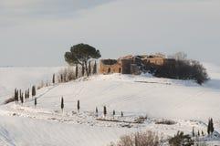 Тосканский ландшафт на зиме Стоковые Изображения RF