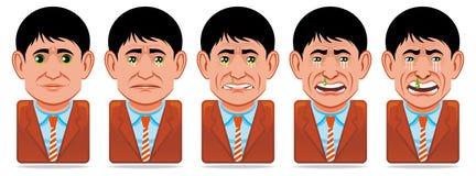 тоскливость людей икон выражения воплощения лицевая Стоковое Изображение