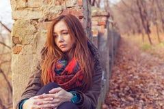 Тоскливость женщины парка Стоковые Фотографии RF