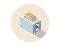 Тостер вектора равновеликий, значок оборудования кухни Стоковое Фото
